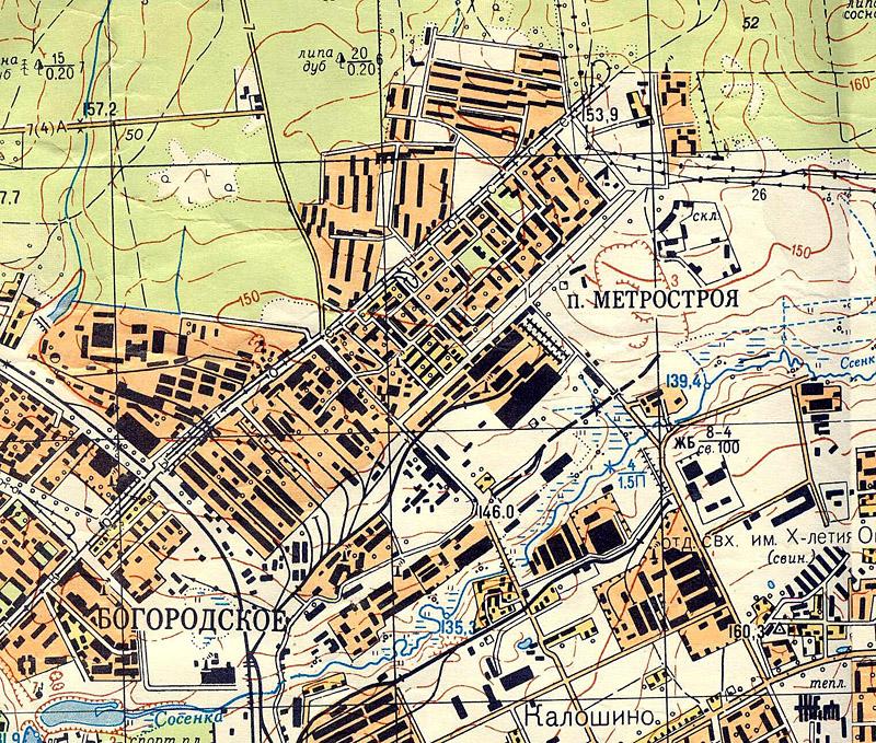карта Метрогородка 1964 года